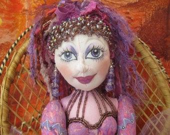 Rainbow Collection Soft Sculpture Doll - Violet - OOAK