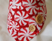 Cat Bandanna - red and white peppermints with wood buttons