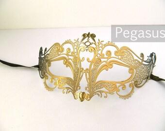 Gold Black Fox Spirit Venetian Filigree Scroll work Metal Masquerade Mask (5 color options) Lightweight Laser Cut flexible