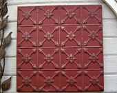Antique Tin Ceiling Tile. FRAMED 2'x2'. Ready to Hang. Oklahoma architectural salvage. Metal wall art. Magnet board.