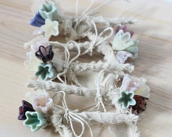 Rustic boutonnieres, Flower corsage, Men's wedding boutonnieres - set of 6
