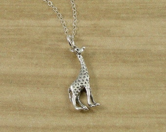 Giraffe Necklace, Sterling Silver Giraffe Charm on a Silver Cable Chain
