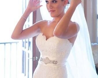 Addison Wedding Dress Crystal Embellishment Sashes Belts Applique for Dress Sash Belt
