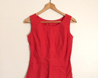 Hand dyed cherry red vintage fitted top cotton