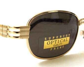 vintage 90's NOS rectangular gold metal sunglasses black lenses men women fashion accessories accessory sun glasses retro modern mechanical