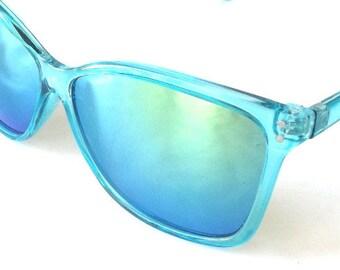 vintage 90's backstock wayfarer sunglasses aqua turquoise blue frames yellow revo lenses sun glasses women men fashion retro accessories new