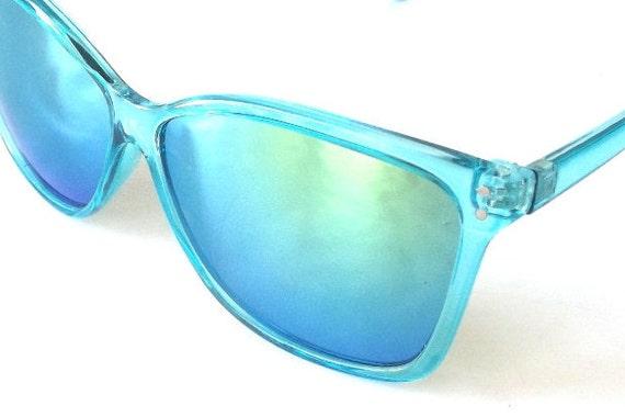 Aqua Blue Glasses Frames : vintage 90s backstock wayfarer sunglasses aqua turquoise
