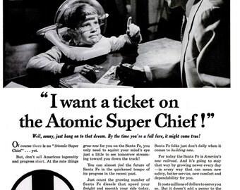 1953 Santa Fe System Lines Railroad Advertisement Print Poster Ad Black & White Astronaut Spacesuit Train Rail NASA Wall Art Home Decor