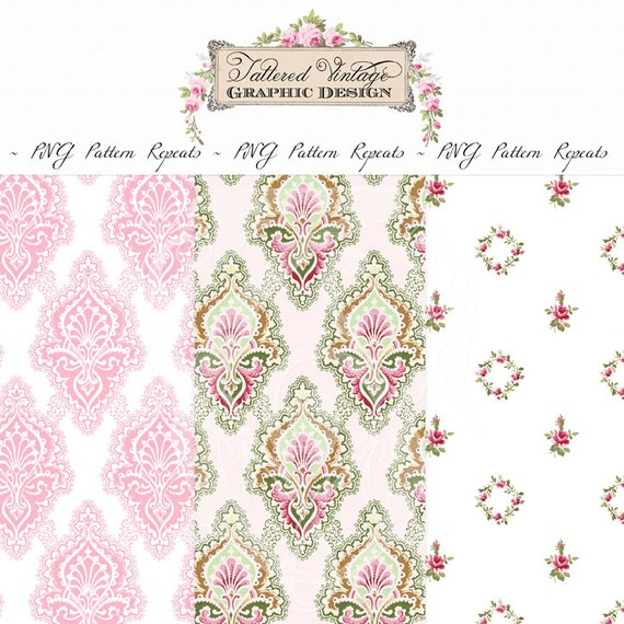 PNG Pattern Repeats Transparent Background Overlay Repeating Boho Damask Pink Lace and Roses Instant Download
