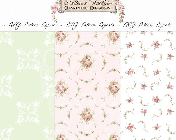 PNG Pattern Repeats Whirlwind Romance Roses Transparent Background Overlays Instant Download
