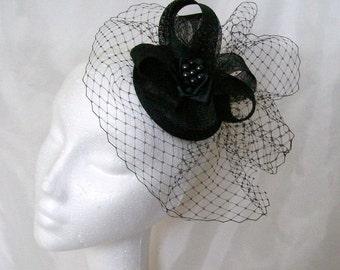 Black Vintage Fascinator- Blusher Veil Sinamay Loop & Crystal Rhinestone Gothic Wedding Elegant Percher Headpiece Mini Hat -Made to Order