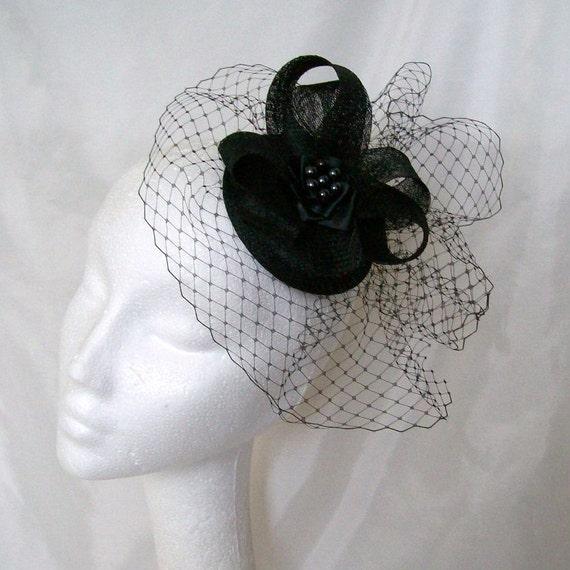 Black Veil Sinamay Loop & Crystal Rhinestone Wedding Elegant Percher Fascinator Mini Hat -Made to Order