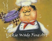 Purple Pot Chef Art Print, fat chef kitchen art, chef paintings, chef prints, cuisine, food, whimsical, silly, chefs, Vickie Wade Art
