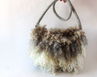 Felted  handbag  purse Eco fur purse crossbody handbag Grey brown  fringe felt fur curly wool locks unique handbag by Galafilc
