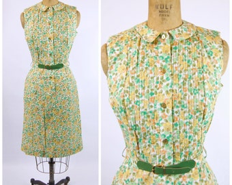 Early 60s Floral Cotton Day Dress - Yellow and Green Floral Dress - Cotton Sheath Dress