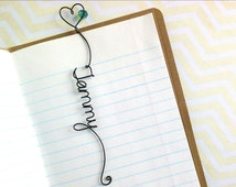Personalized Bookmark with Heart and Bead, Personalized Wire Bookmark with Heart