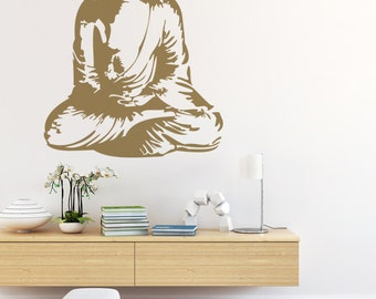 Buddha Wall Decal, Buddha Wall Art, Asian Wall Decal, Nursery Wall Decal,  Dorm Decor, Spiritual Wall Decal, Silhouette Wall Art