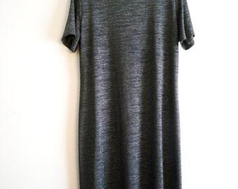 90s Black Faux Turtleneck Dress Size 16, Short Sleeve Rabbit Designs Short Sleeve Dress, SALE