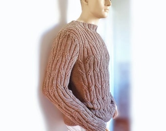 Hand knit men's sweater Men's sweater Cable knit sweater Gift for him Hand knit Pullover gift for men SAMPLE SALE
