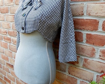 50s Cropped Librarian Bow Jacket Kitschy B&W Checkered Plaid Wool Red Lining Peter Pan Collar 3/4 Sleeves Super Cute Retro Pin Up Fashion
