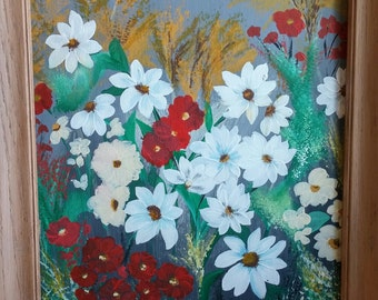 Field of Wild Flowers  Acrylic canvas painting