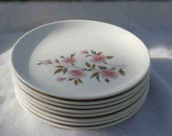 A Little Stack of 8 White Plates with Pink Flowers - Mid Century Era Vintage