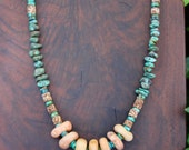 Neolithic Quartz Bead Necklace Ancient Carved Stone Donut Beads with Turquoise Pebbles Rustic Earthy Jewelry