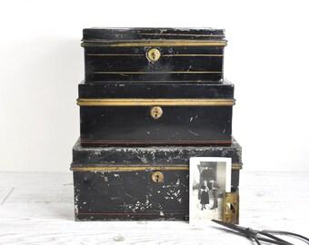 Metal Cash Box / Antique Storage Box / Tole Document Box / Industrial Storage