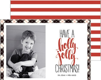 Red, Black + Tan Plaid Holiday Photo Card with Preppy Red Stripes | Choose from Patterned Back or Photo Collage Back