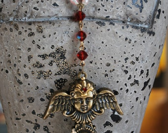 Reconstructed found object religious cherub heart vintage rosary beaded pendant necklace