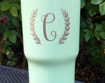 Custom Monogram RTIC, YETI vacuum insulated tumbler, powder coated and laser engraved/etched