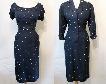 "Adorable 1950's Silk Polka Dot Designer Dress with Matching Jacket by ""Mancini California"" Rockabilly Vlv Pinup Hourglass Vixen Size-Large"