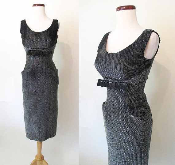 Perfection 1950's Black &Silver Lurex Hourglass Cocktail Party Dress w/ Shelf Bust Construction Rockabilly VLV Pinup Size-Medium