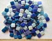 100 8mm Blue Mix Mini SQUARES//Recycled Glass Mosaic Tiles//Mosaic Supplies//Craft Supplies//Mosaic Tiles
