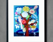 Tree of Life on blue  - Fine art print from original flowers painting. Folk, bohemian, funky, naive, primitive.