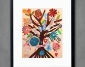 Viva la Vida - 8 x10 aprox. inches inches Print. Mexican flowers, art painting flowers, bohemian, folk, funky, naive, primitive.