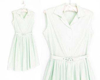 50s Day Dress * 1950s Mint Green Dress * Sleeveless Cotton Dress * Small