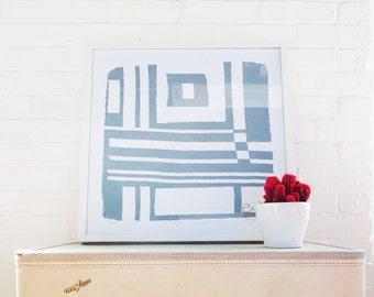 Gray Bold Geometric Silk Screened Art Print on white Paper