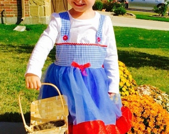 Dorothy Dress: blue and white gingham with red sparkle ribbon, wonderful wizard of oz, adjustable, birthday party, costume, dress up
