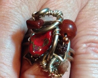 Red Rocker Ring size 8&1/2