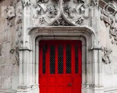 Red Door, Paris Print, Gray, Red, Rustic, Architecture, Paris Photography, Red Door Print, Paris Wall Art