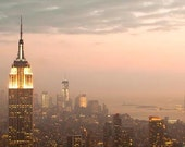 NYC Skyline, New York Print, Large Wall Art, Empire State Building, NYC Art, Pink, Gold, Fog
