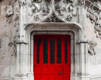 Red Door, Paris Print, Gray, Red, Rustic, Architecture, Paris Photography, Red Door Print, Paris Wall Art