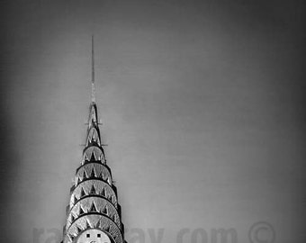 Chrysler Building, New York City Print, Art Deco, Architecture, Silver, Black and White New York Photography