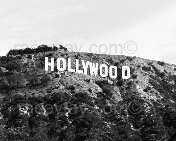 Los Angeles Print, Black and White Hollywood Sign, Office Decor, Retro, Modern, California Print