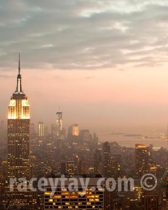 NYC Skyline, New York City Print, Empire State Building, Pink, Gold, Lights, Fog, New York Photography, Large Wall Art