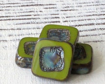 14mm Chunky Tile Bead - Czech Glass Beads - Jewelry Making Supply - Square in Square (4 or 10 pieces) Olive Green Picasso