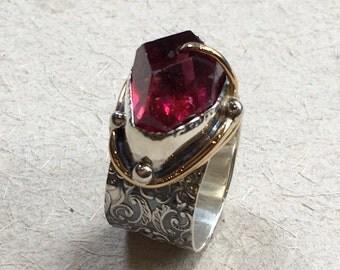 Pink fuchsia quartz ring, organic design ring, boho ring, hippie ring, cocktail ring, silver gold ring, OOAK ring - One dance R2363