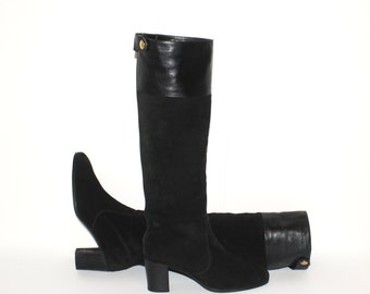 Vintage GUCCI Riding Boots Black Suede Leather Side Snap 38 -AUTHENTIC-