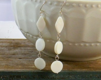Long Dangle Mother of Pearl Earrings White Pearly Extra Long Earrings Womens Fashion Jewelry